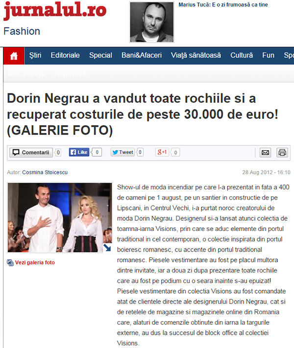 Dorin Negrau a vandut toate rochiile si a recuperat costurile de peste 30.000 de euro!