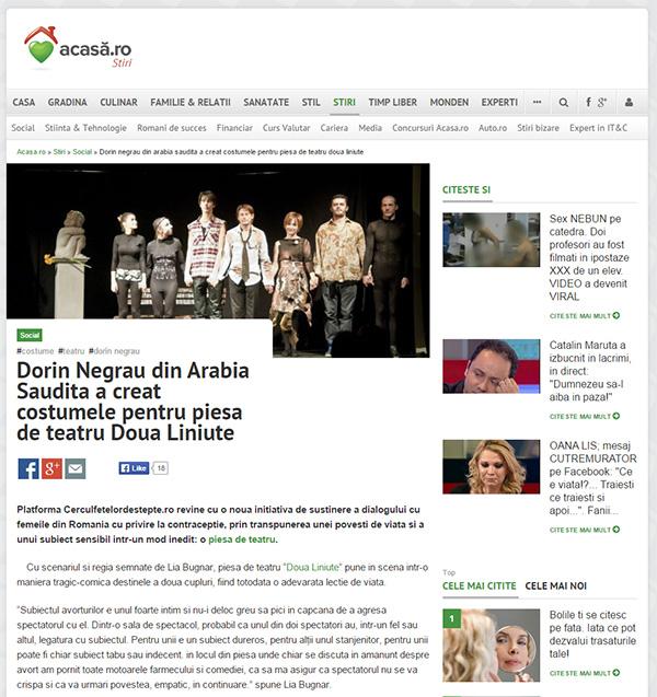 Dorin Negrau din Arabia Saudita a creat costumele pentru piesa de teatru Doua Liniute