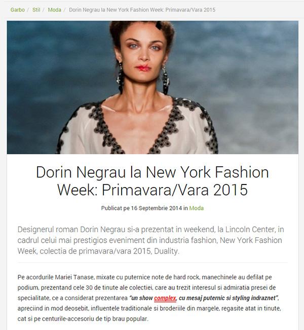 Dorin Negrau la New York Fashion Week