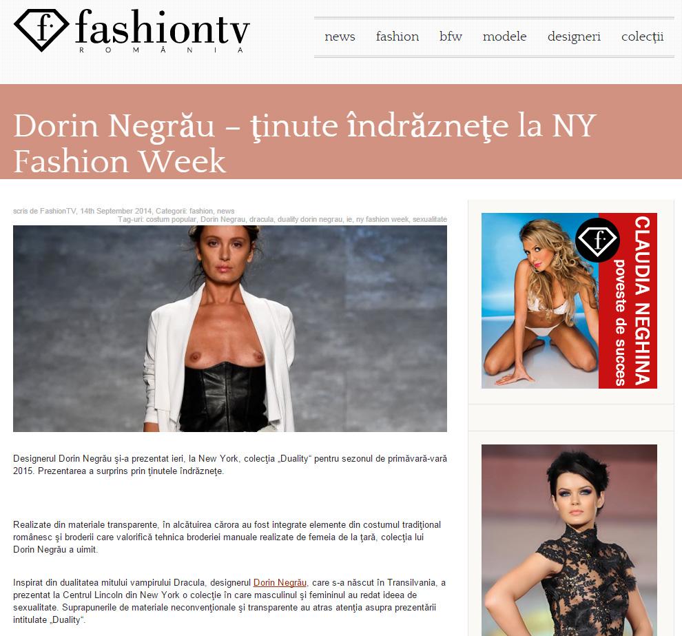 Dorin Negrău – ţinute îndrăzneţe la NY Fashion Week
