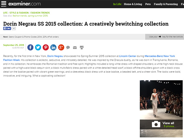 Dorin Negrau SS 2015 collection: A creatively bewitching collection